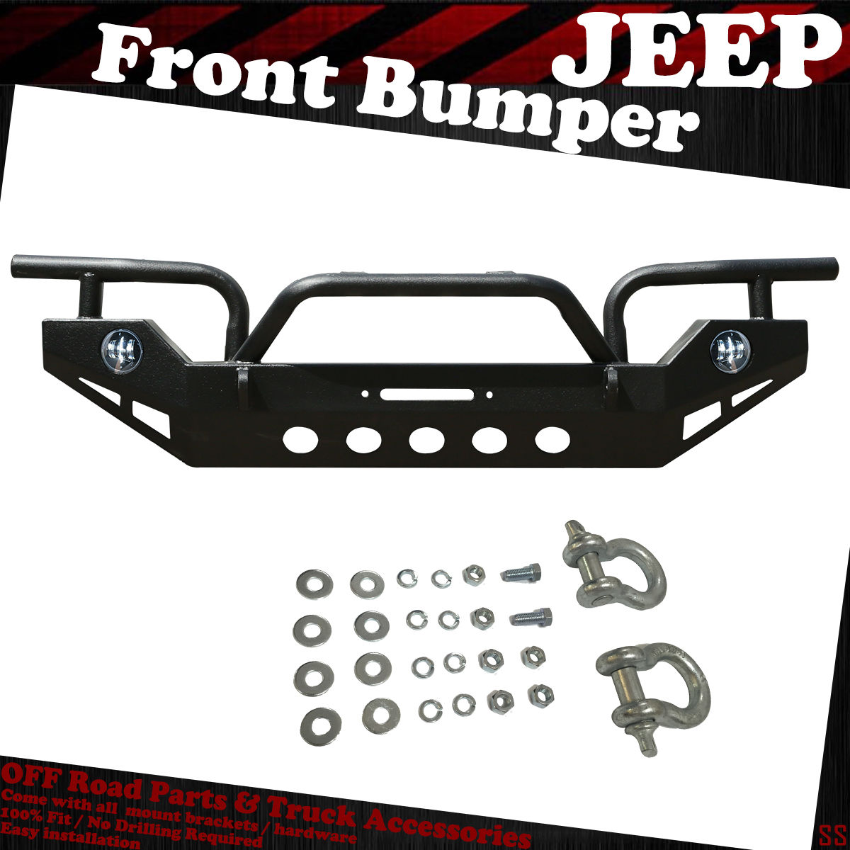 07 18 Jeep Wrangler Black Textured Front Bumper Winch Plate Oe Fog Installing A Light Holes