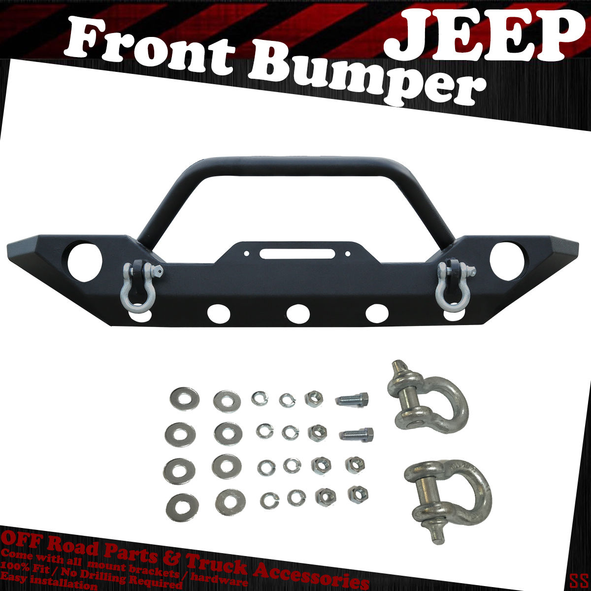 07 17 Jeep Wrangler Jk Textured Front Bumper Winch Plate With Oe Fog Parts Light Hole