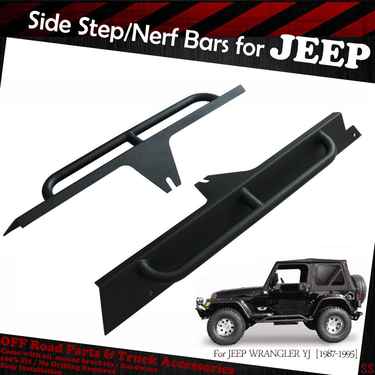1987-1996 Jeep Wrangler YJ 2 D Textured Off Road Black Side Armor Rock Sliders