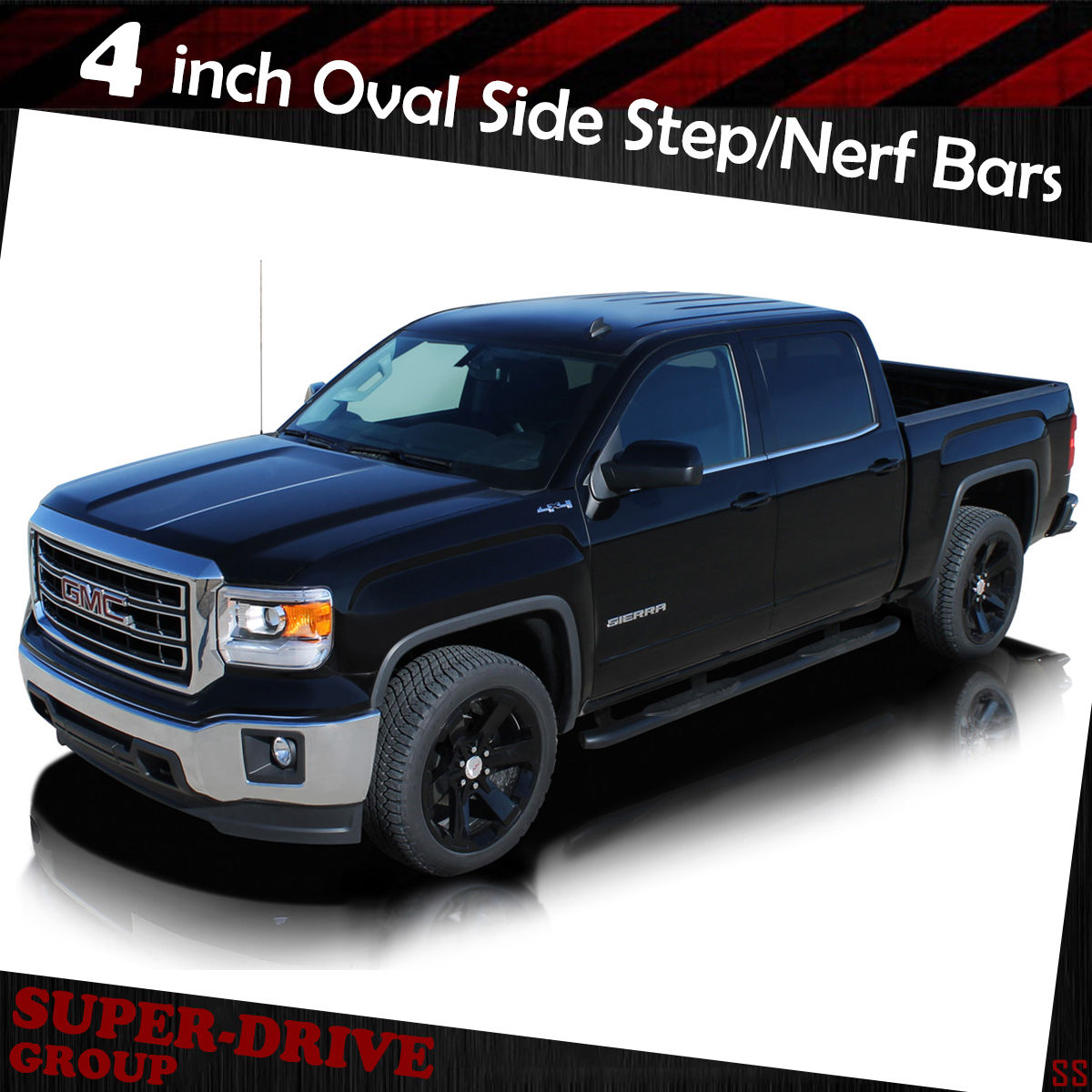 Black Nerf Bars For 07 18 Chevy Silverado 1500 2500hd Crew Cab Side 1954 Step Curved