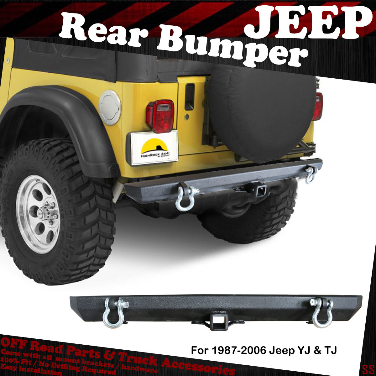 YJ Black Textured Rear Bumper Guard Fit 1987-2006 Jeep Wrangler TJ
