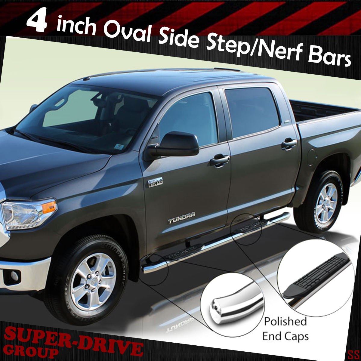 4 Oval Nerf Bars Side Step Boards For 07 18 Chevy Silverado Gmc 1954 Crew Cab