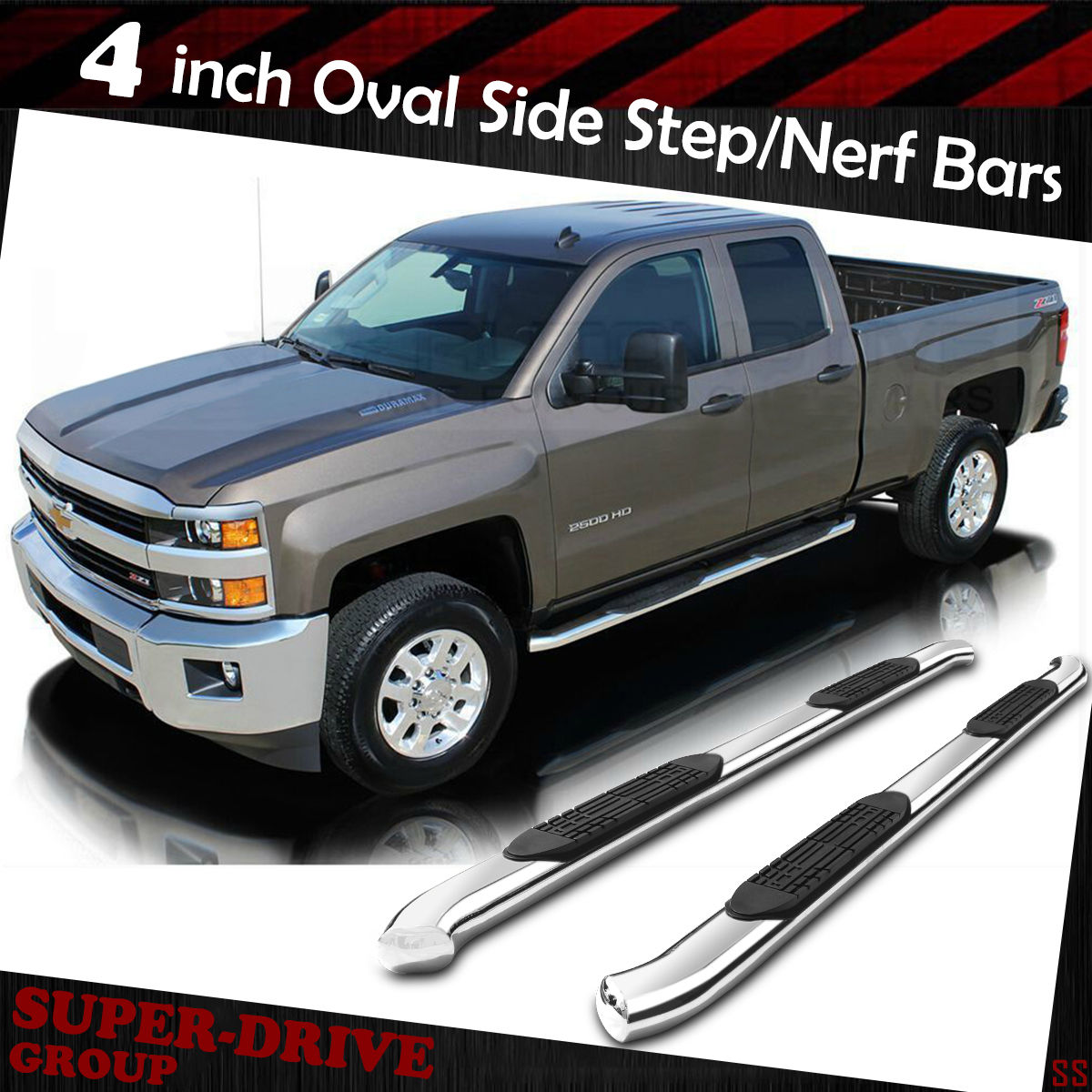 4 Oval Nerf Bars Side Step Boards For 07 18 Chevy Silverado Gmc 1957 Crew Cab