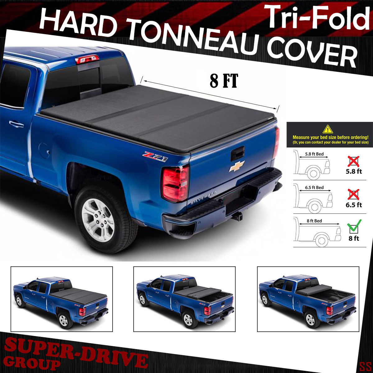 For 2007 2013 Gmc Sierra 8 Ft 96 Long Bed Lock Soft Tri Fold Tonneau Cover Blk
