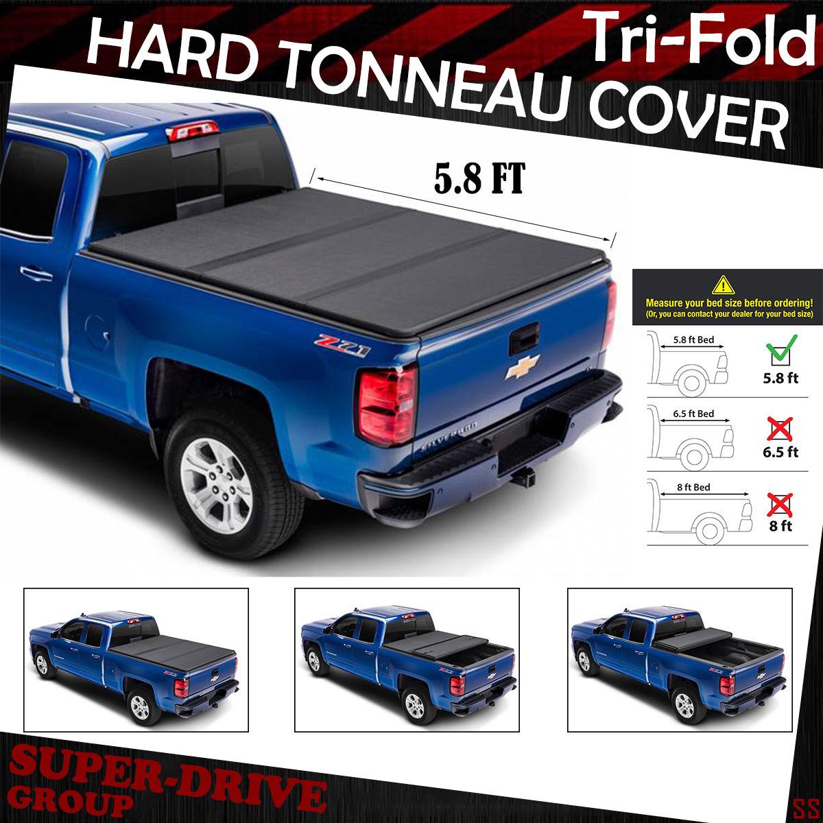 Lock Tri Fold Hard Solid Tonneau Cover For 2014 2018 Gmc Sierra