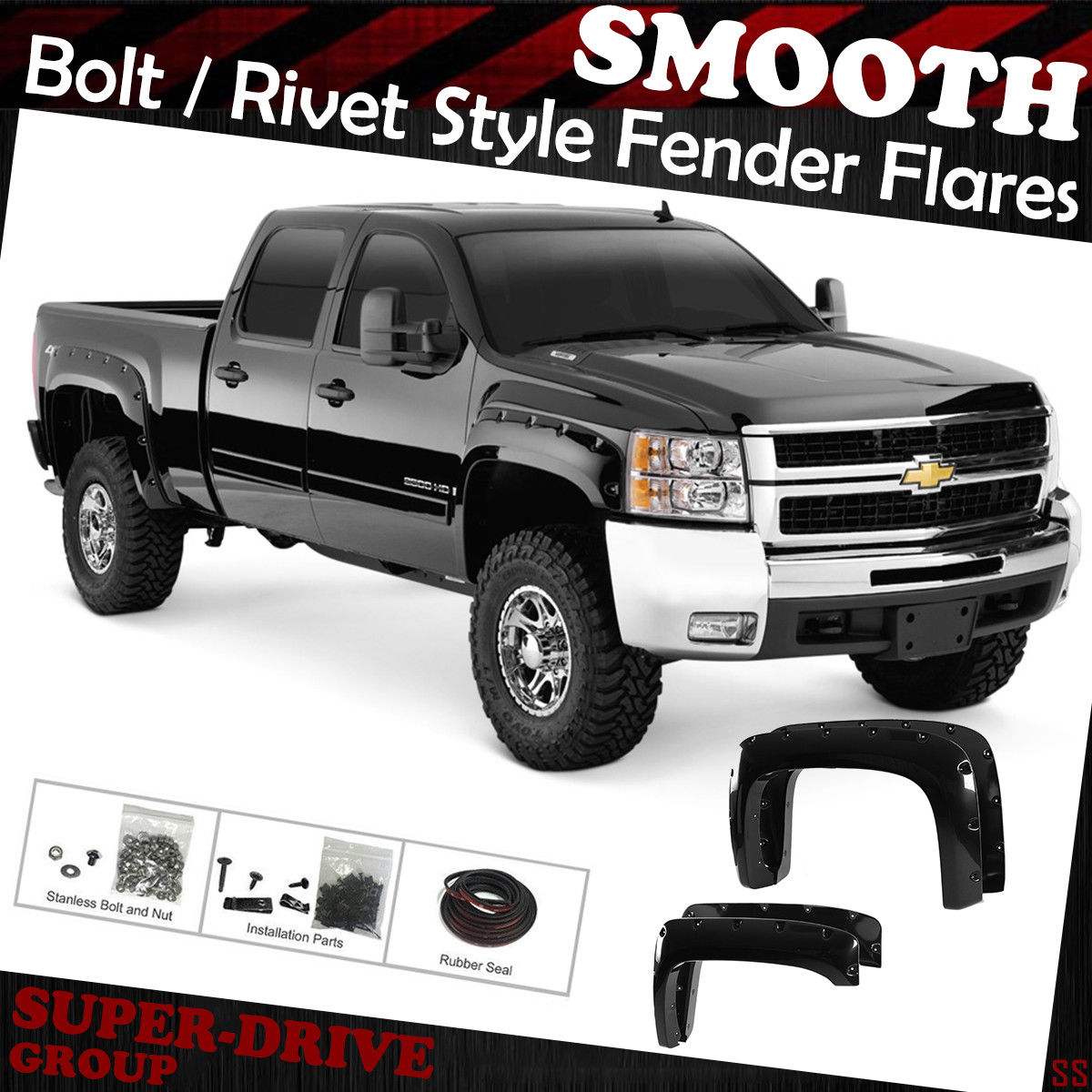 Fender Flares 2007-2014 Silverado 1500 2500 3500 HD Bolt On Rivet Paintable