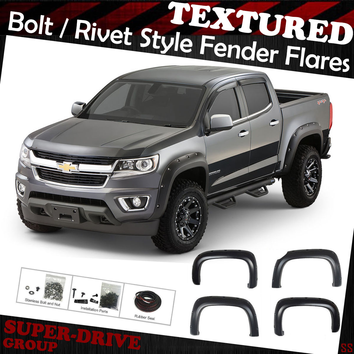 For 2015 2018 Chevy Colorado 74 Inch Bed Pocket Riveted Fender Flares Textured Ebay