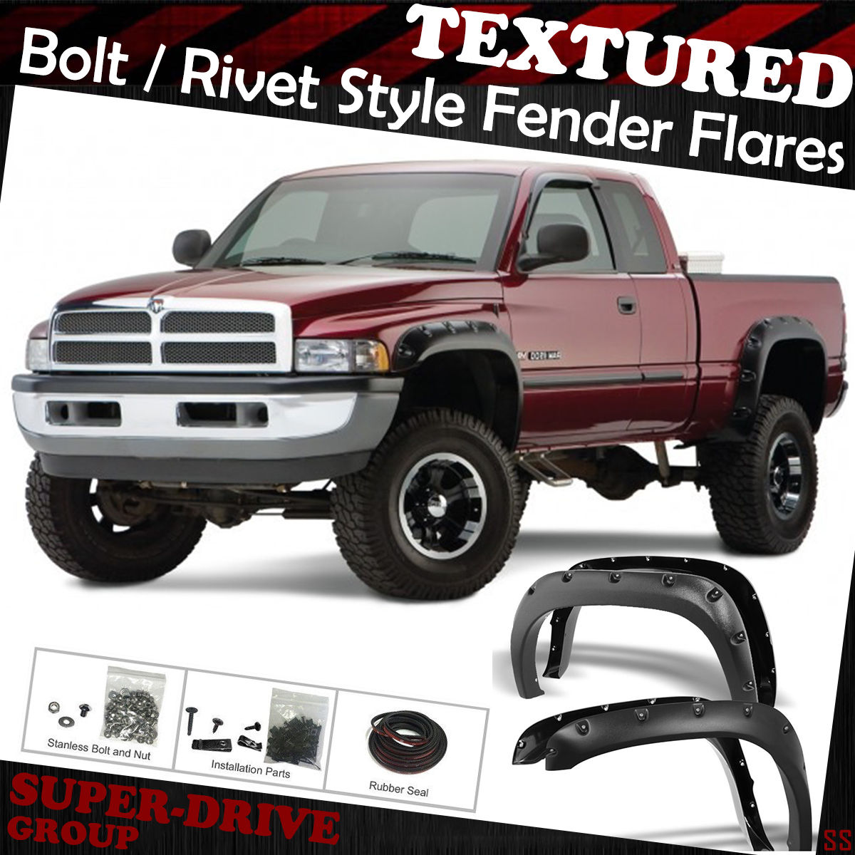Pocket-Riveted Black Textured Fender Flares For 94-02 Dodge Ram 1500 2500  3500