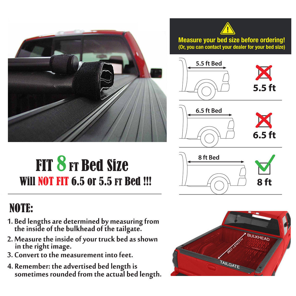 Fit 1999 2017 Ford F 250 F 350 F 450 Super Duty Roll Up Tonneau Cover 8 Ft Long