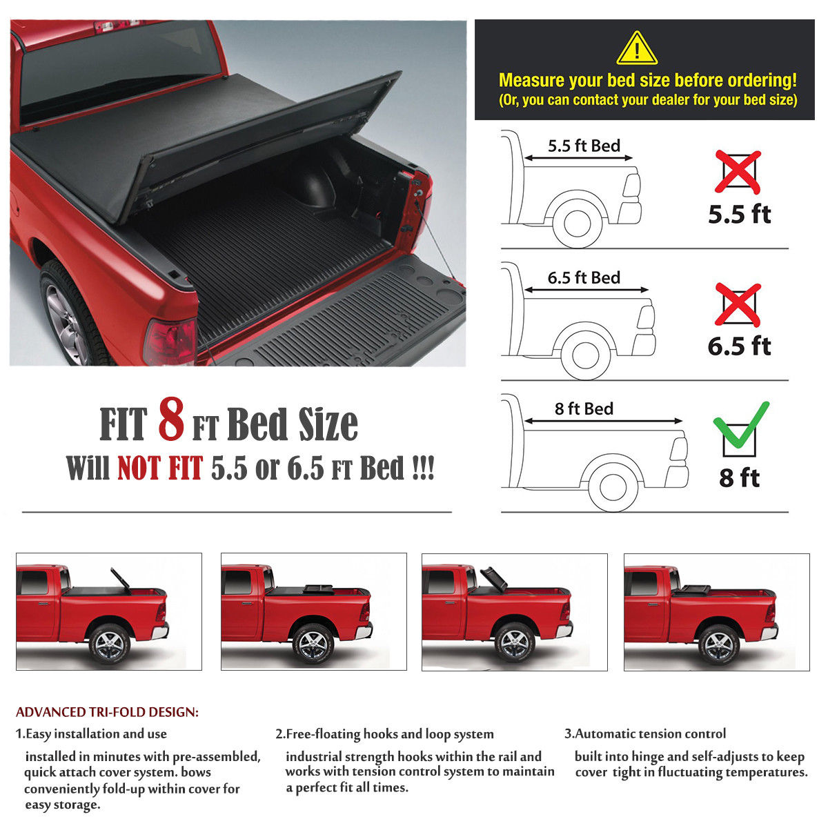 Lock Tri Fold Soft Tonneau Cover For 2009 2018 Ford F 150 8 Ft 96 Bed Covers Ebay