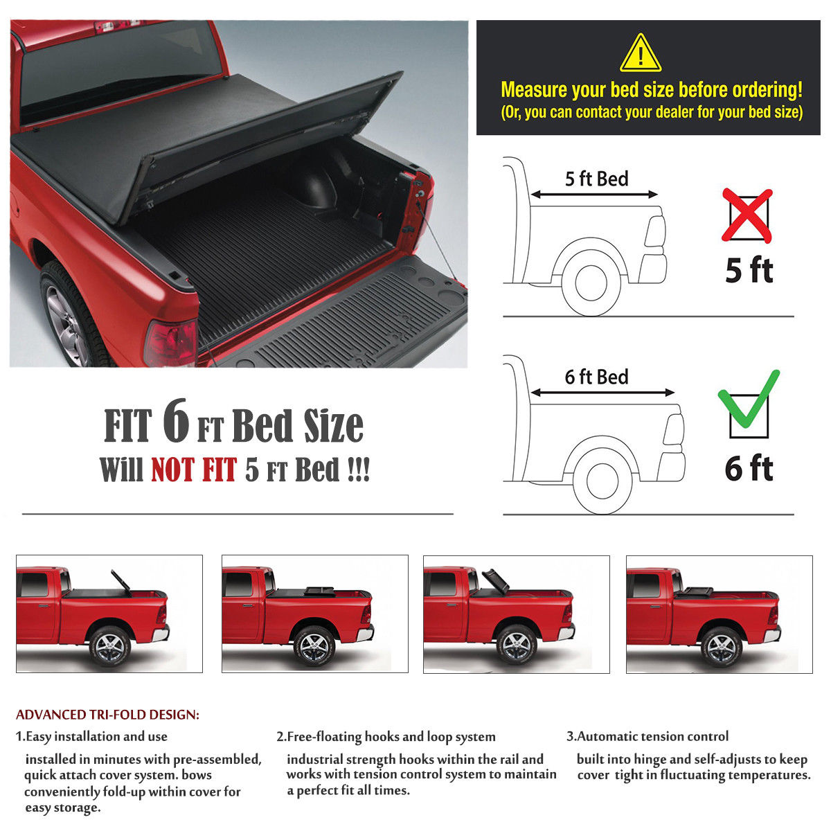 Soft Tri-Fold Tonneau Assemble Cover For 2005-2018 Nissan Frontier 6ft//72in Bed