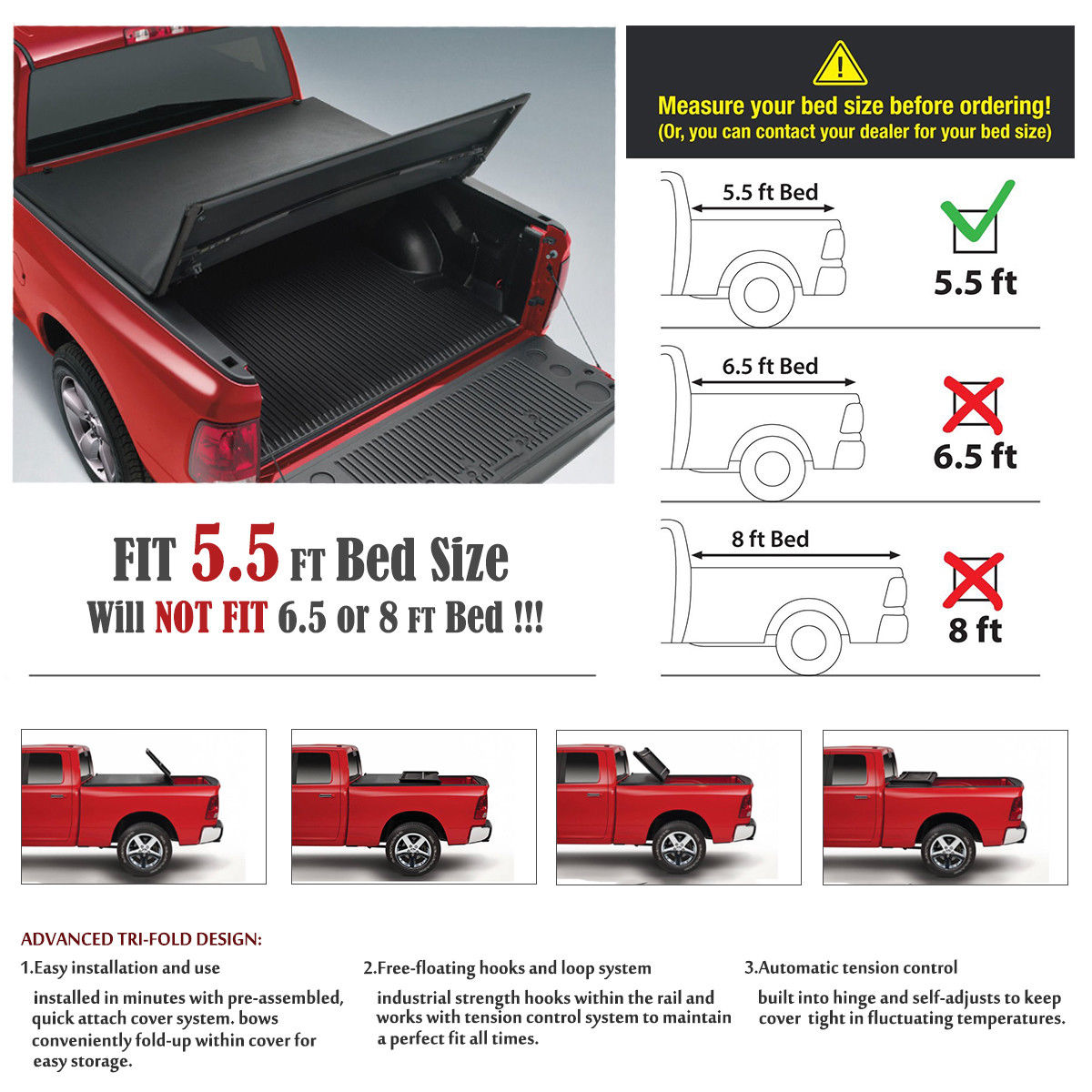 """Fits 07-16 Toyota Tundra 5.5 Ft 66/"""" Bed Lock /& Roll Up Soft Vinyl Tonneau Cover"""