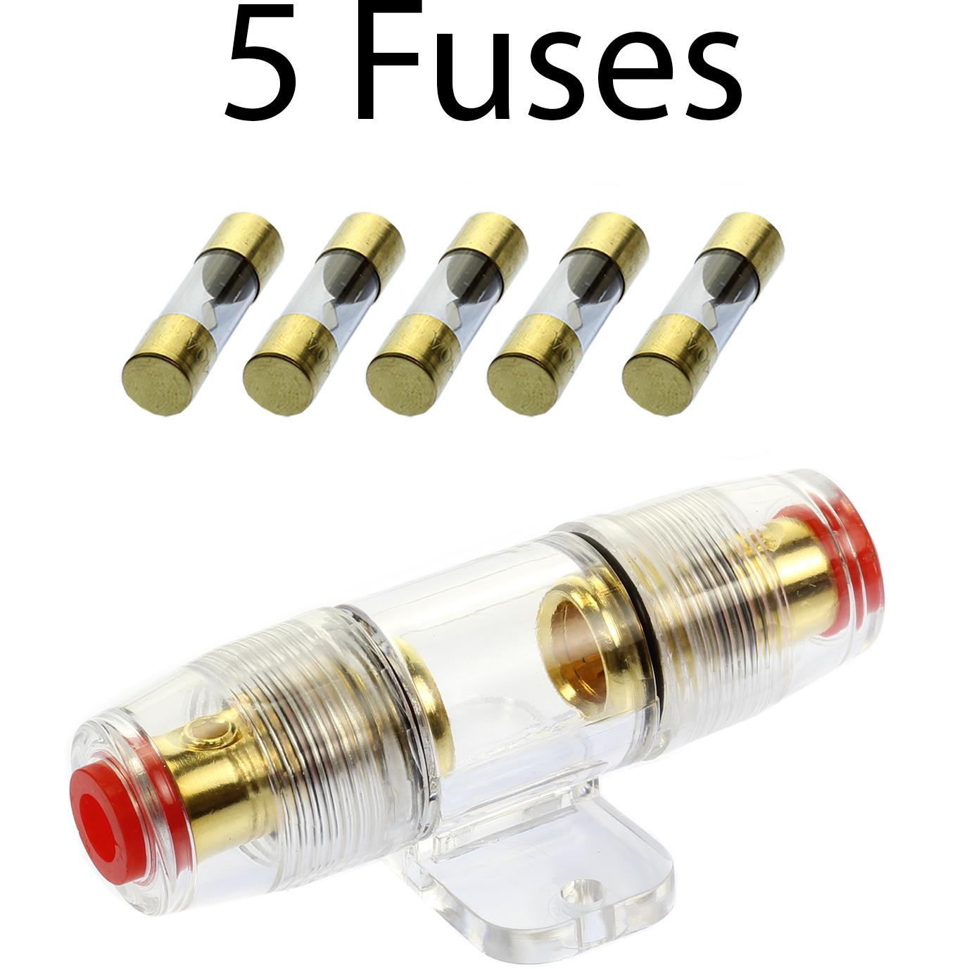 AGU Fuse Holder High Quality Gold Inline 4 6 8 Gauge 5 Pack 40 AMP AGU Fuses