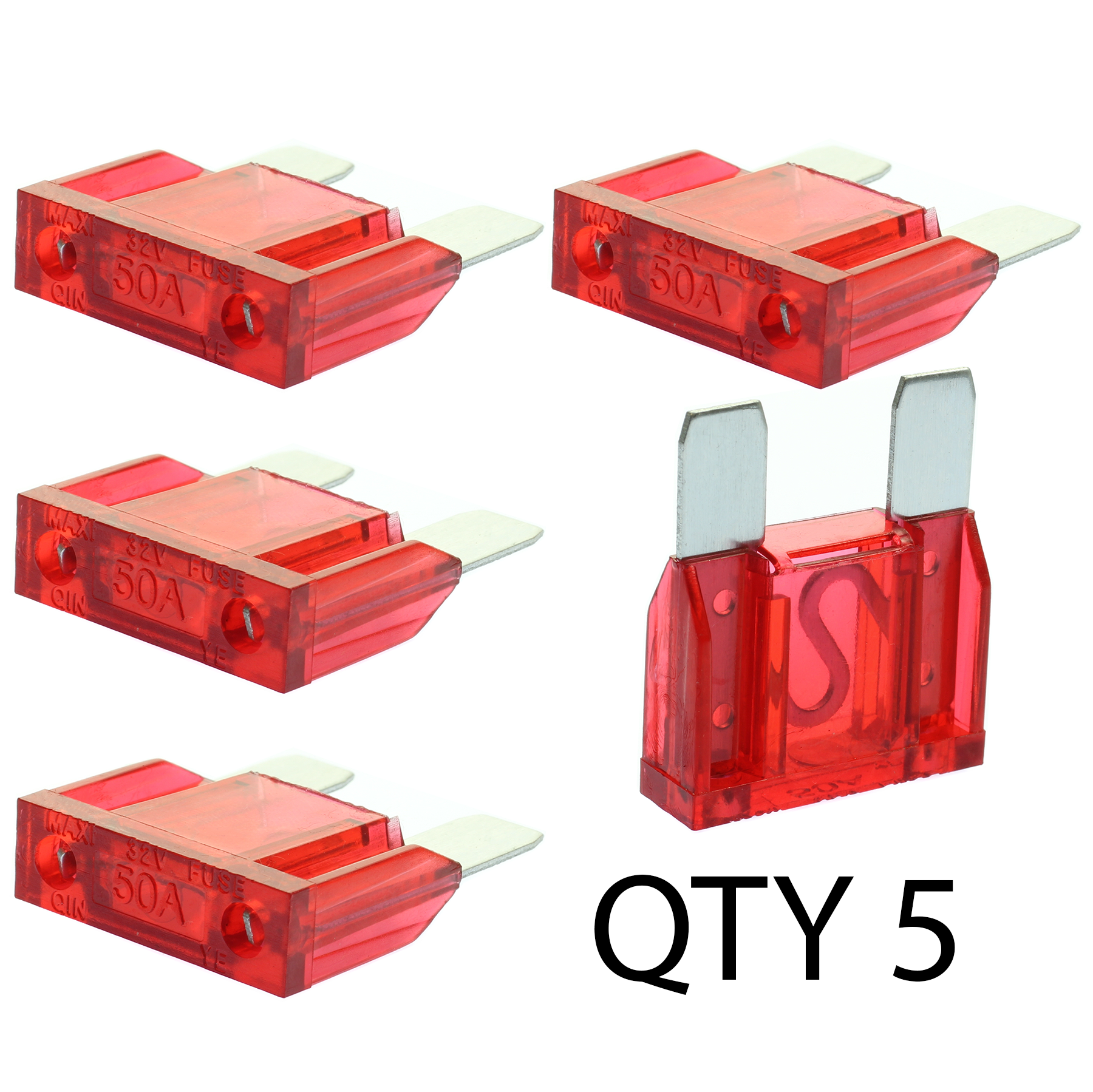 (5) 50 Amp Maxi Fuse by Voodoo Car Audio For Fuse holder Qty 5