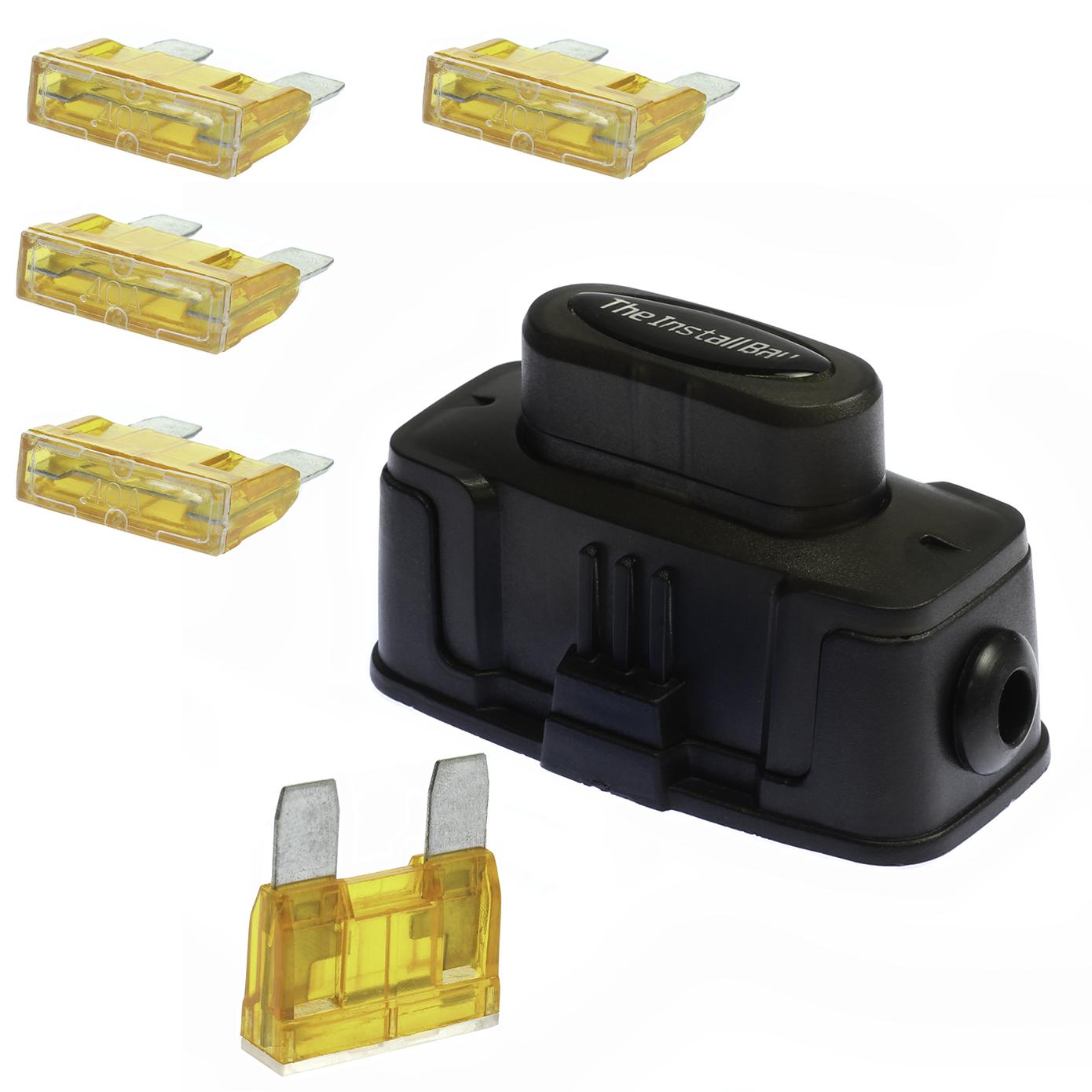 1  Maxi Inline Fuse Holder Fuseholder Install Bay 4 6 8 Gauge  5  40 Amp Fuses 759003340803