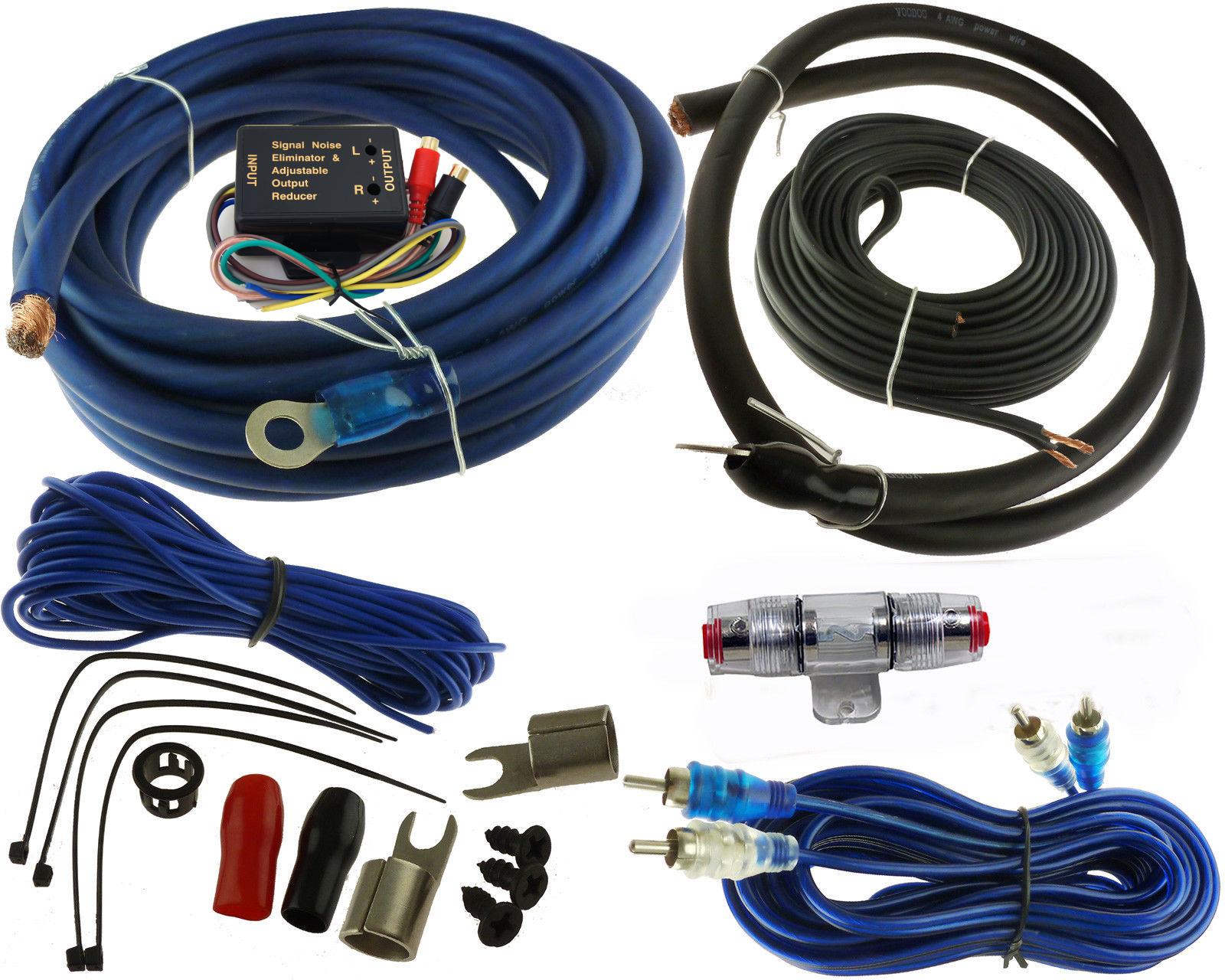Voodoo 4 Gauge Car Amplifier Installation Wiring Wire Kit Amp + RCA+ ...
