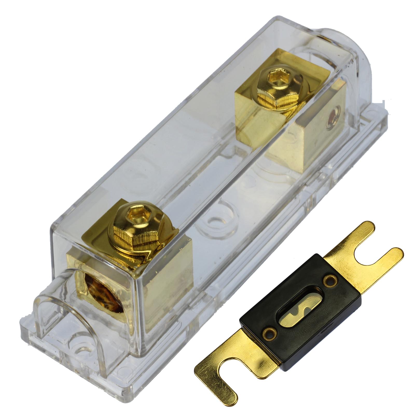 200 Amp ANL Fuse Gold Holder Voodoo 2/0 or 1/0 0 gauge no terminals needed