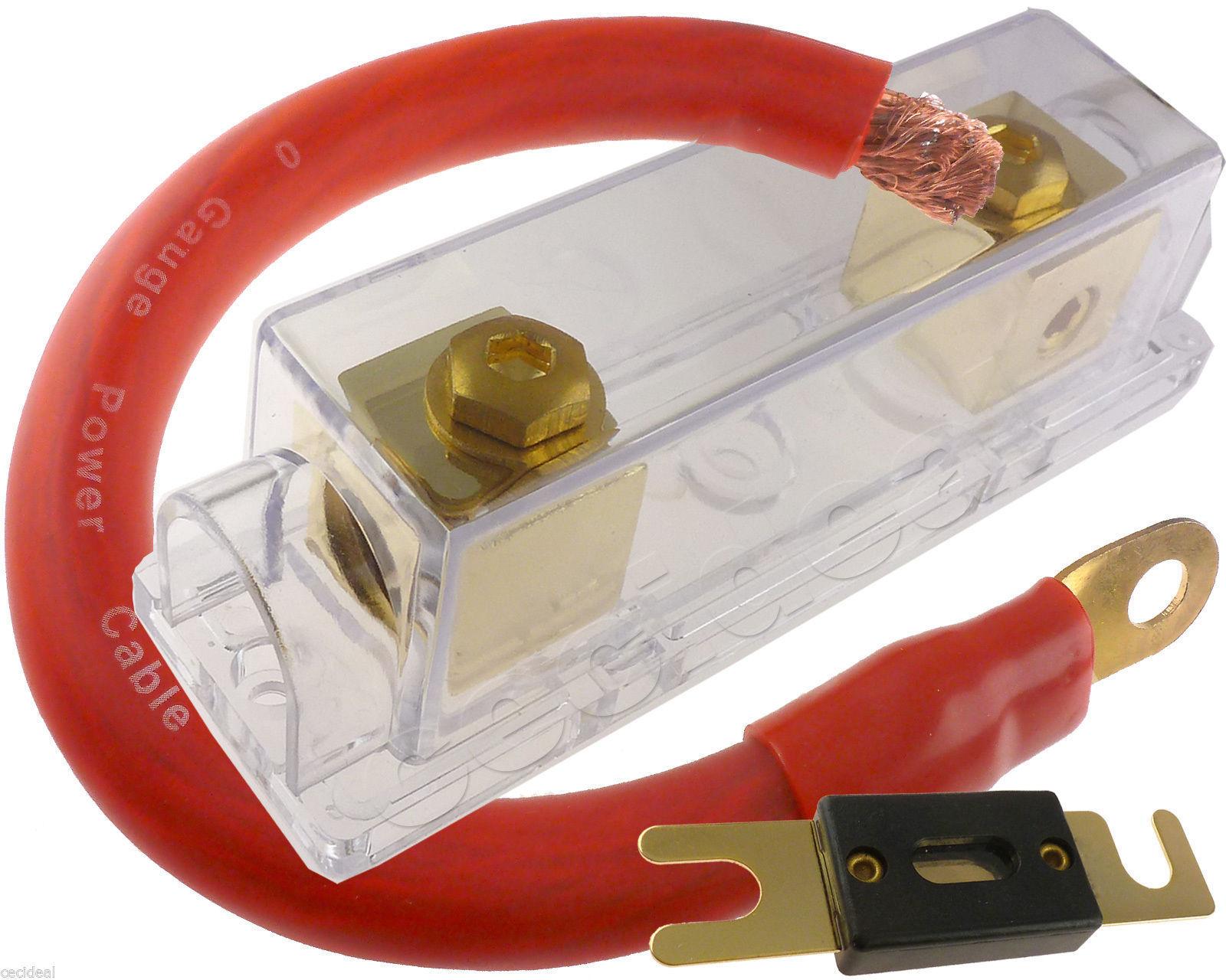 (1) 400 AMP ANL Fuse & (1) Inline Fuseholder Battery Install Kit 1/0 Gauge  1FT