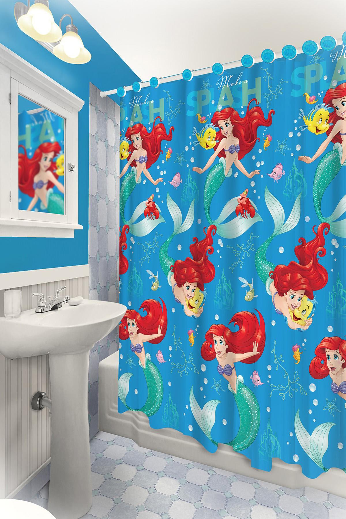 Details About 13pc Disney Ariel Little Mermaid Shower Curtain And Hooks Set