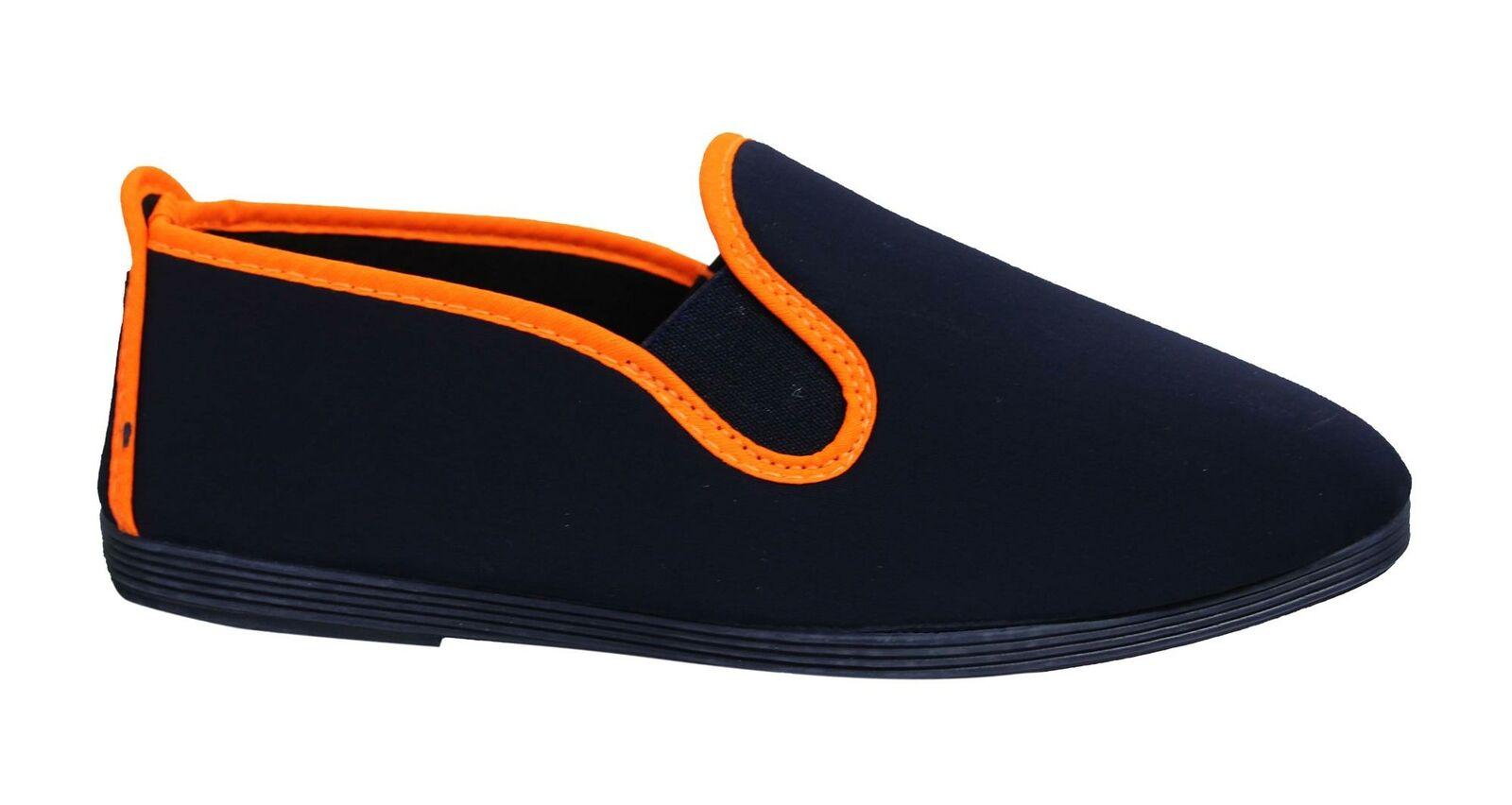 Flossy Style Gallur Unisex Espadrille Slip On Plimsolls Shoes 5556 Navy