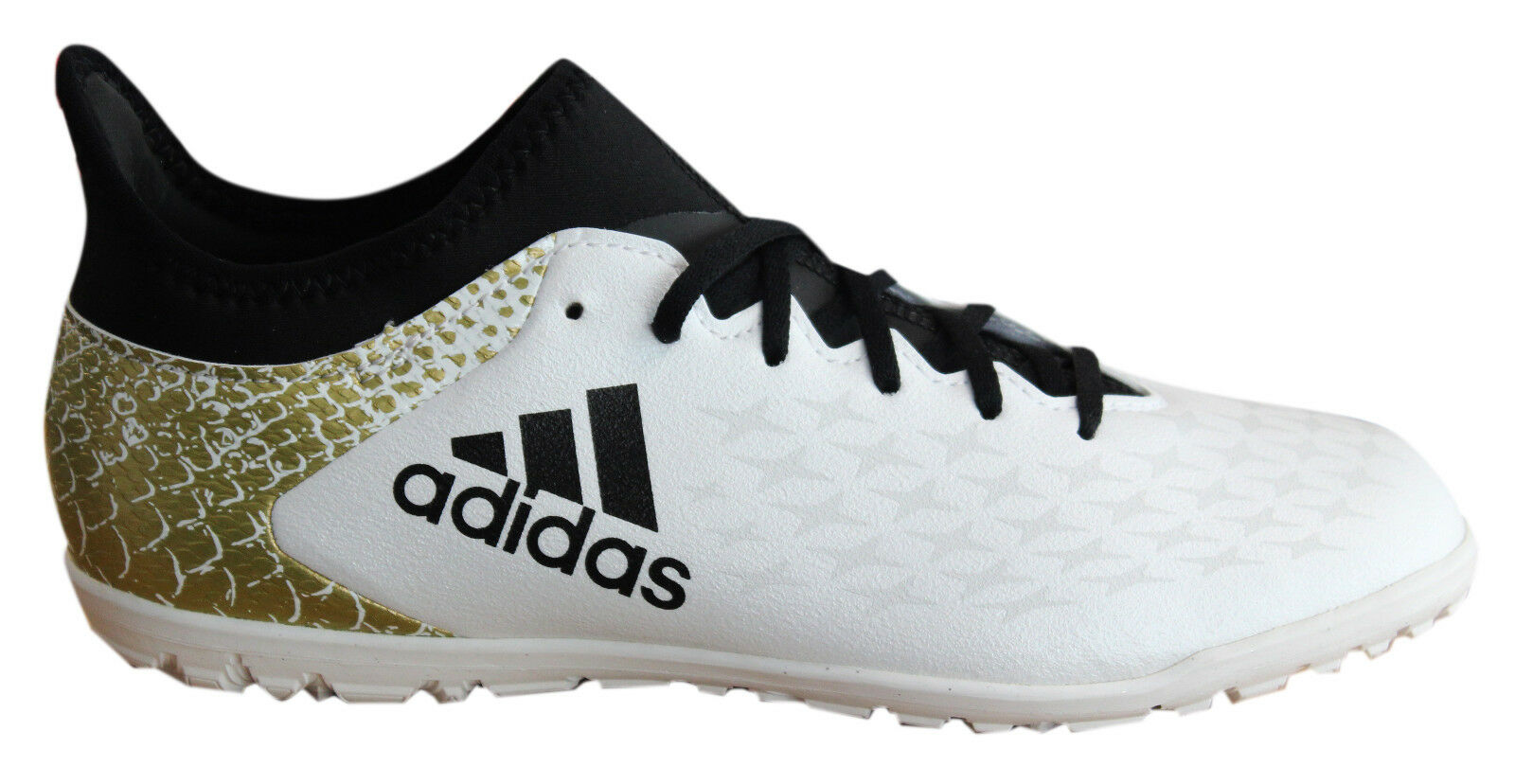 Adidas X 16.3 TF Astro Lace Up White Black Gold Kids Football ...