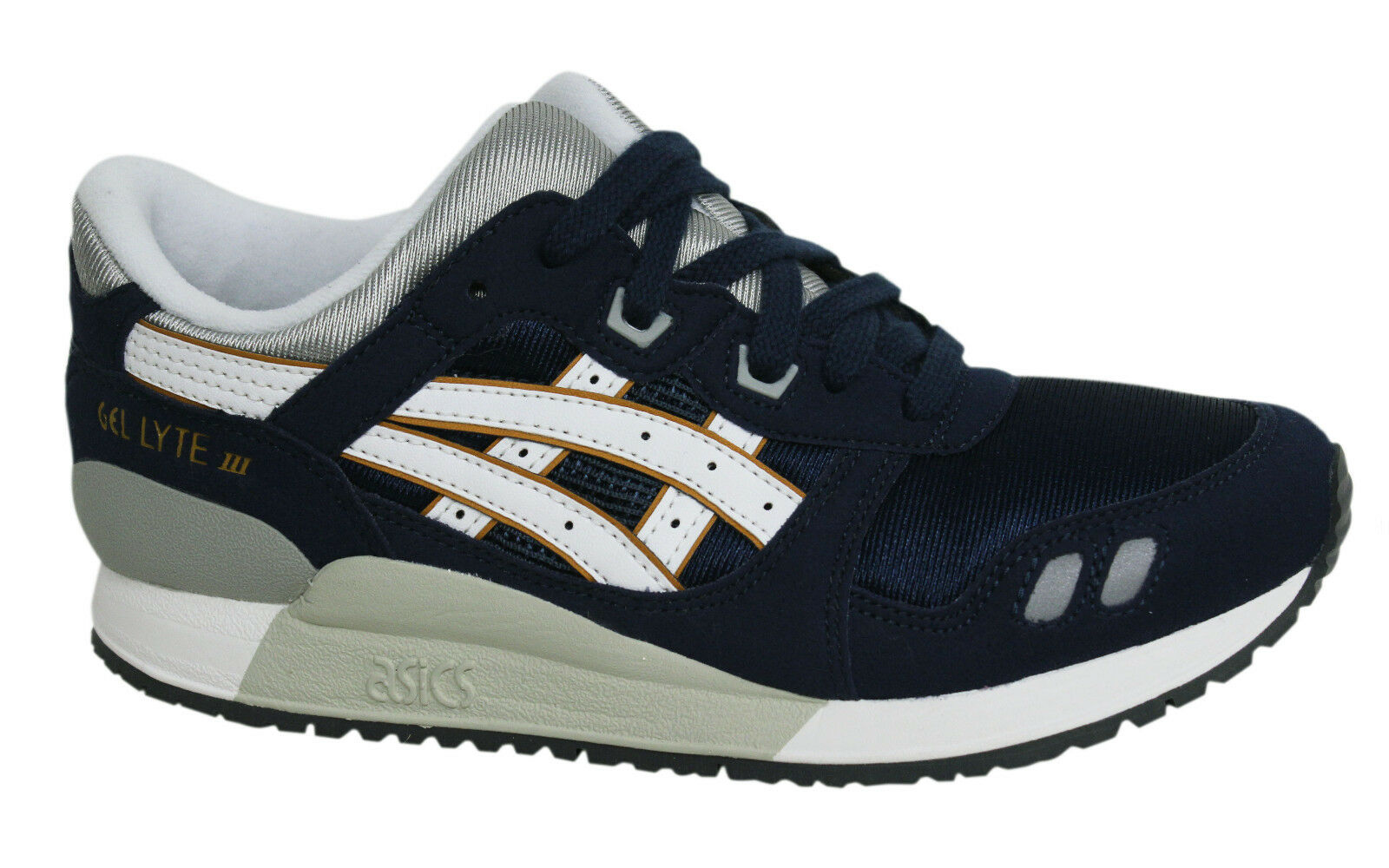 Asics Gel-Lyte III Lace Up Navy Synthetic Kids Junior Trainers ...
