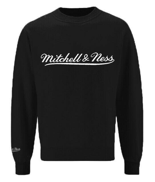 Mitchell Ness Script Logo Black Crew Neck Sweatshirt Mens Pullover Jumper A39E