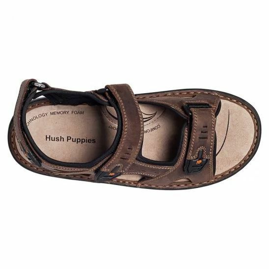MENS-HUSH-PUPPIES-SIMMER-BROWN-GREYSTONE-GREY-SANDALS-LEATHER-SUMMER-SHOES thumbnail 9