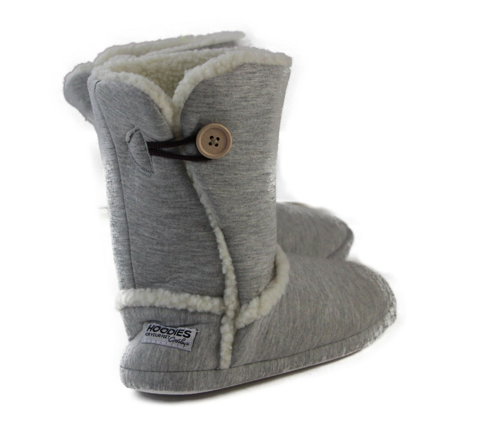 GROSBY-SHERPA-HOODIES-Button-Boots-Black-Grey-Warm-Slippers-Size-S-M-L-XL thumbnail 12