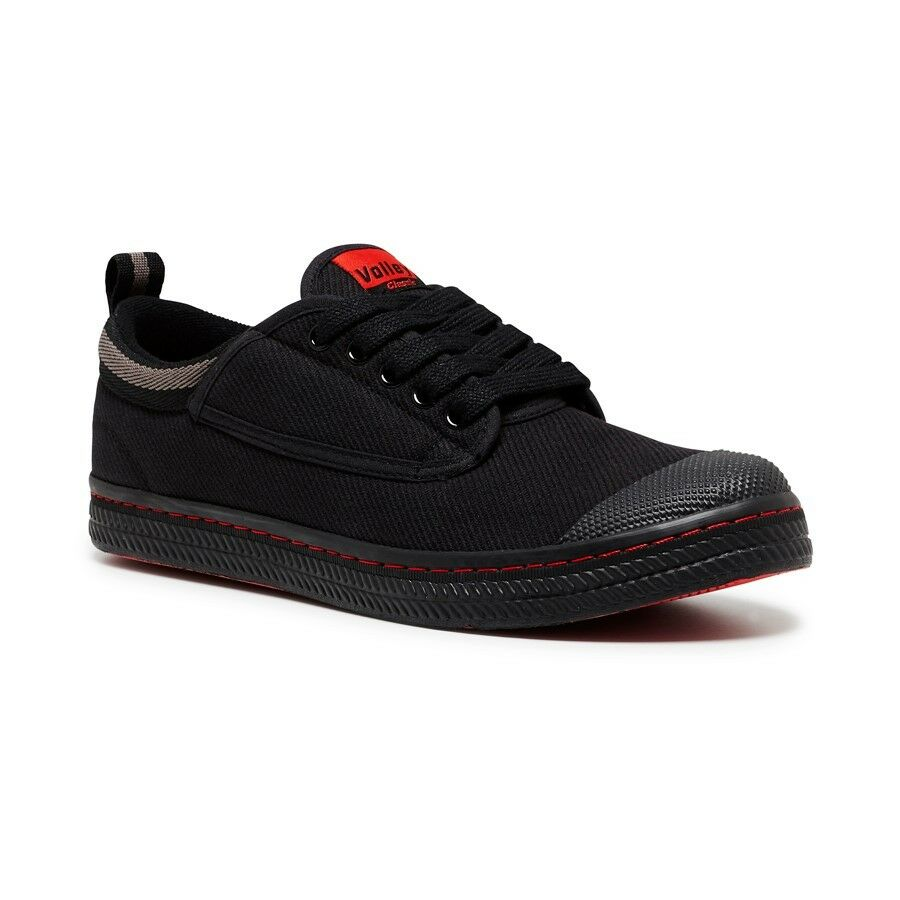 MENS-DUNLOP-CLASSIC-CANVAS-VOLLEYS-Volley-Sneakers-Casual-Shoes-BLACK-WHITE-SALE thumbnail 3