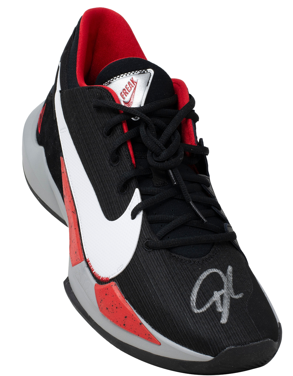 Giannis Antetokounmpo Signed Right Red Black Nike Zoom ...