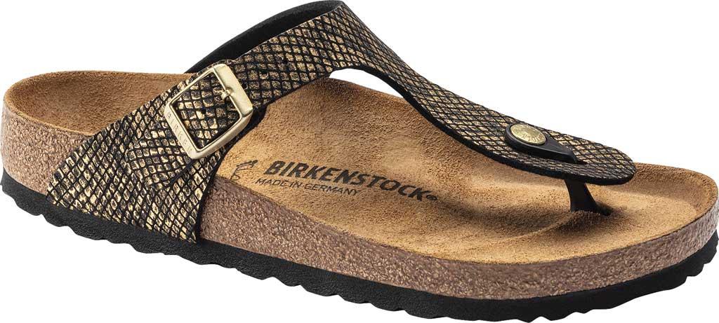 Women's Birkenstock Gizeh Thong Sandal, Shiny Python Black Microfiber, large, image 1