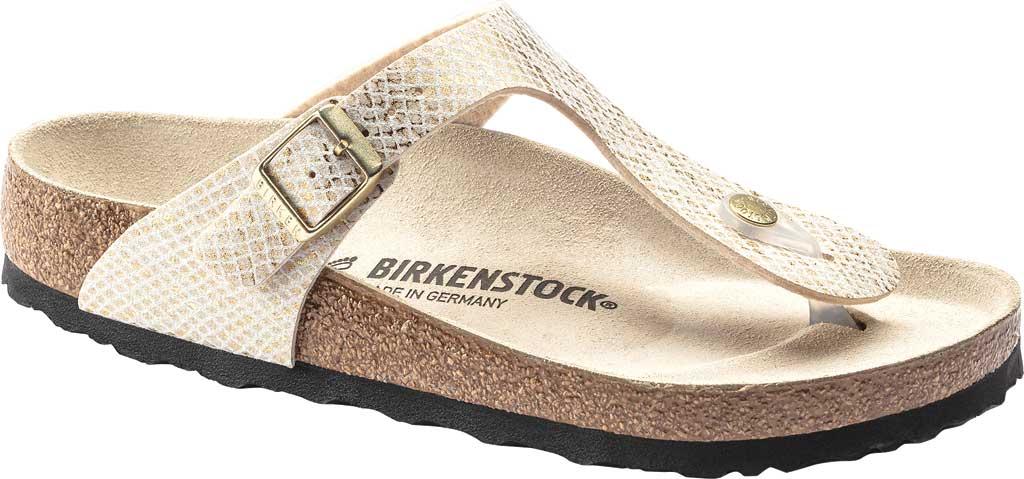 Women's Birkenstock Gizeh Thong Sandal, Shiny Python Eggshell Microfiber, large, image 1