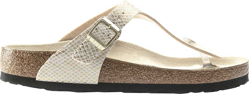 Women's Birkenstock Gizeh Thong Sandal, Shiny Python Eggshell Microfiber, large, image 2