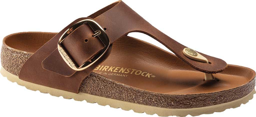 Women's Birkenstock Gizeh Big Buckle Thong Sandal, Cognac Leather, large, image 1