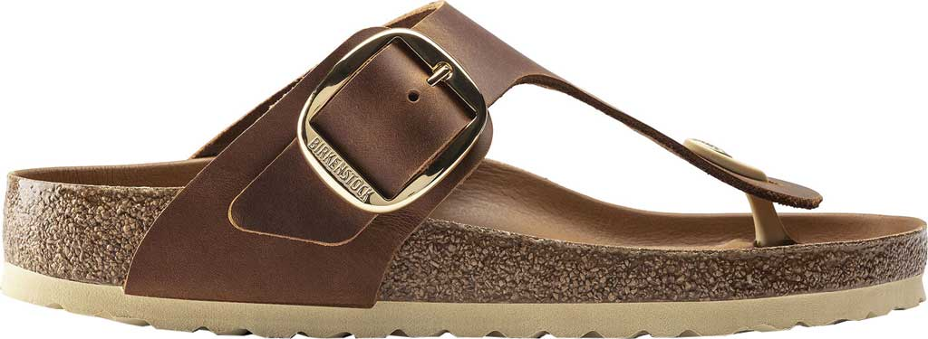 Women's Birkenstock Gizeh Big Buckle Thong Sandal, Cognac Leather, large, image 2