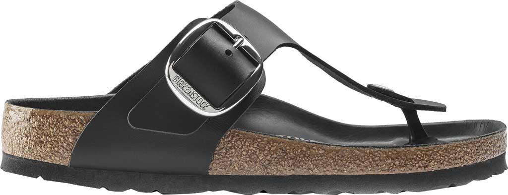 Women's Birkenstock Gizeh Big Buckle Thong Sandal, Black Leather, large, image 2