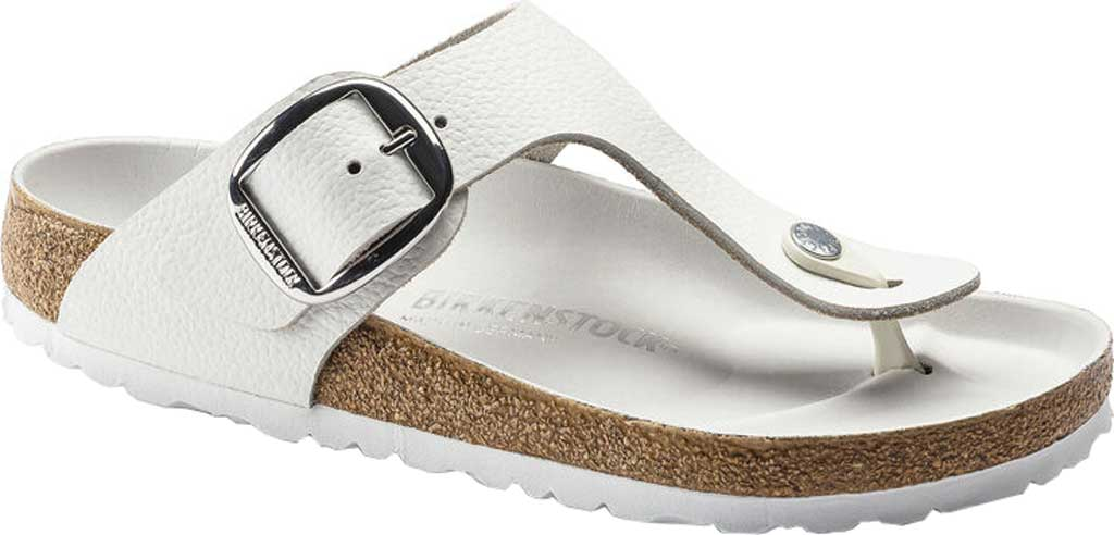 Women's Birkenstock Gizeh Big Buckle Thong Sandal, White Leather, large, image 1