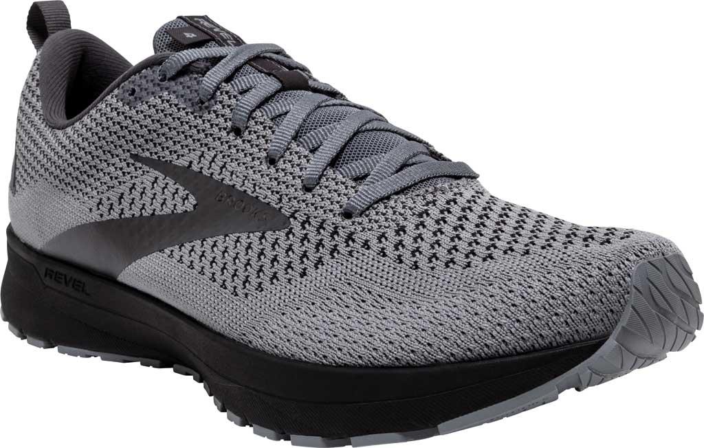 Men's Brooks Revel 4 Running Shoe, Grey/Blackened Pearl/Black, large, image 1