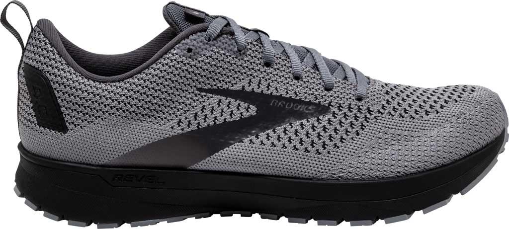 Men's Brooks Revel 4 Running Shoe, Grey/Blackened Pearl/Black, large, image 2