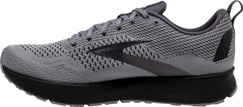 Men's Brooks Revel 4 Running Shoe, Grey/Blackened Pearl/Black, large, image 3