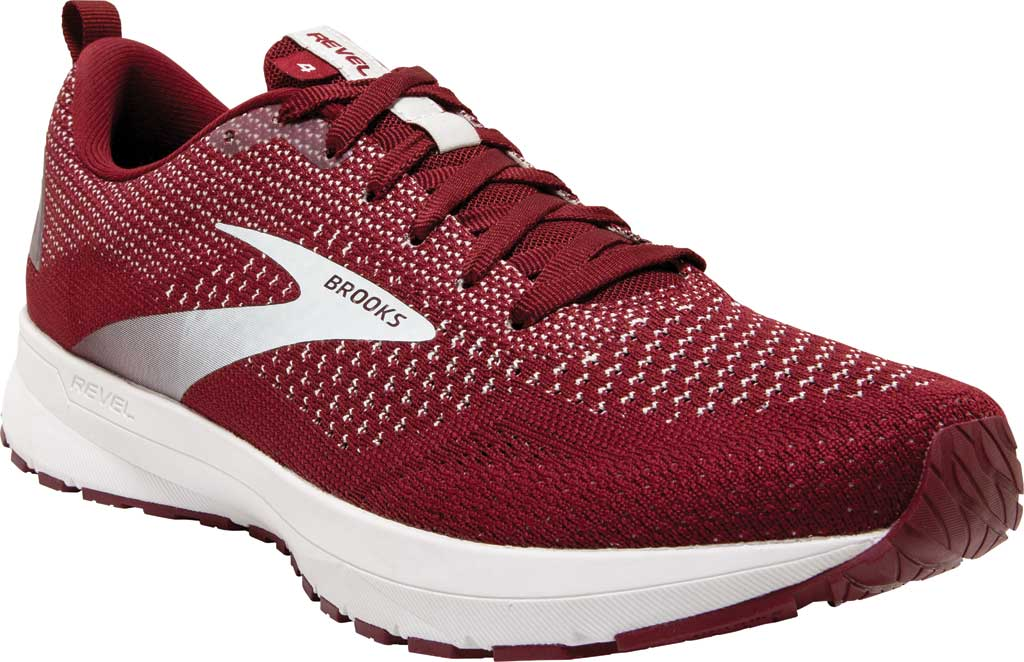 Men's Brooks Revel 4 Running Shoe, Maroon/White, large, image 1