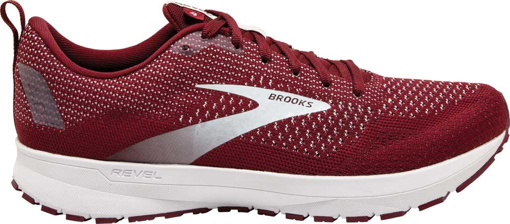 Men's Brooks Revel 4 Running Shoe, Maroon/White, large, image 2