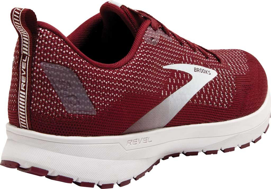 Men's Brooks Revel 4 Running Shoe, Maroon/White, large, image 4