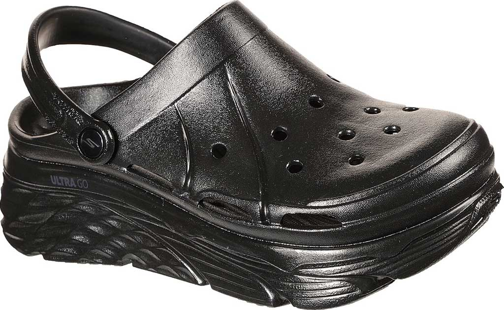 Women's Skechers Foamies Max Cushioning Show Off Clog, Black/Black, large, image 1