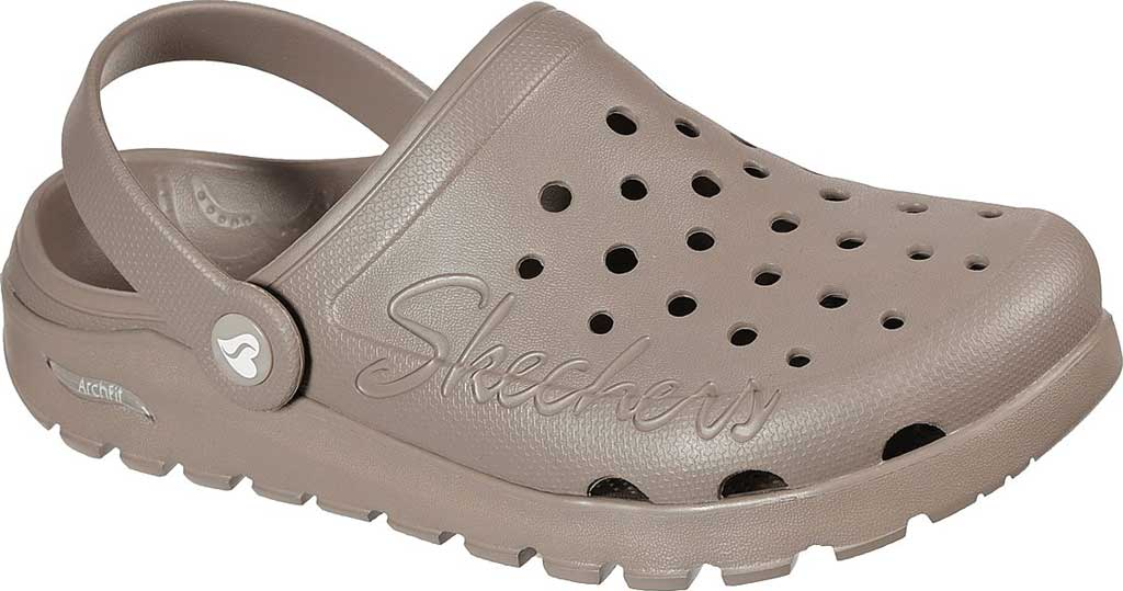 Women's Skechers Foamies Arch Fit Footsteps Pure Joy Clog, Taupe, large, image 1