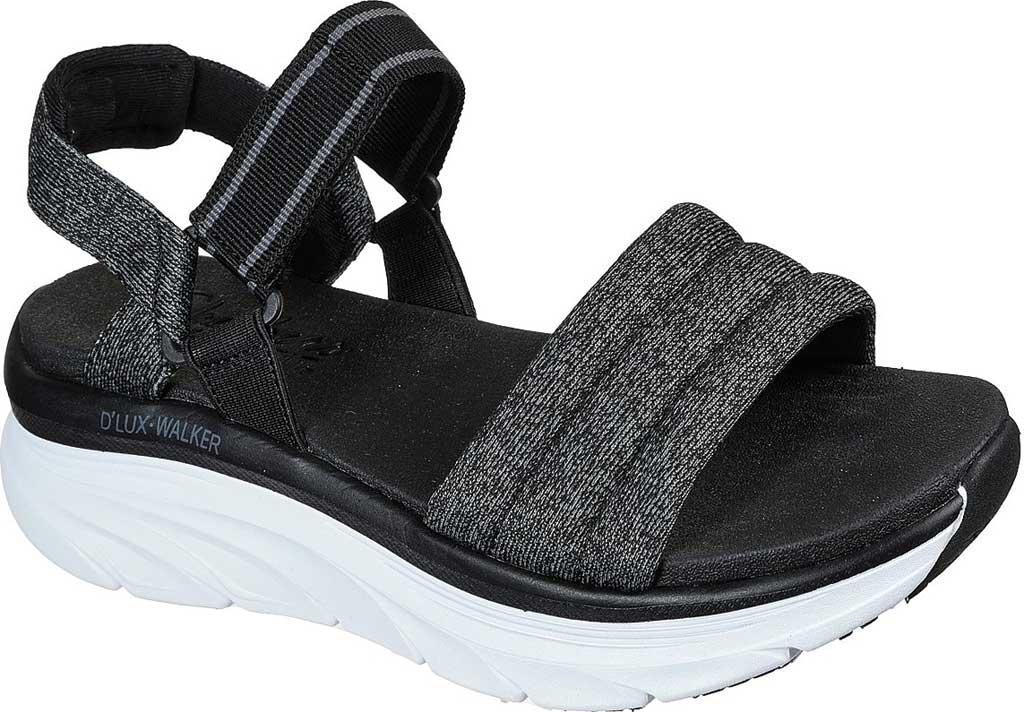 Women's Skechers Relaxed Fit D'Lux Walker Puffer Break Strappy Sandal, Black, large, image 1