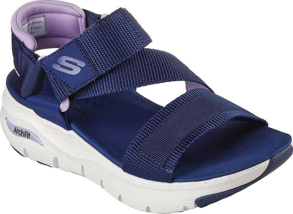 Women's Skechers Arch Fit Pop Retro Vegan Wedge Strappy Sandal, Navy/Purple, large, image 1