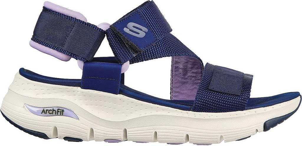 Women's Skechers Arch Fit Pop Retro Vegan Wedge Strappy Sandal, Navy/Purple, large, image 2