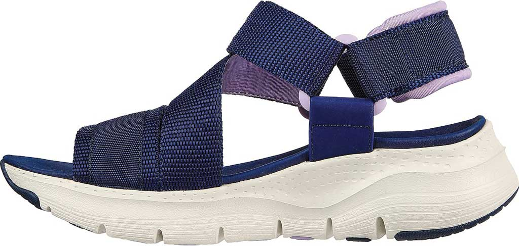 Women's Skechers Arch Fit Pop Retro Vegan Wedge Strappy Sandal, Navy/Purple, large, image 3